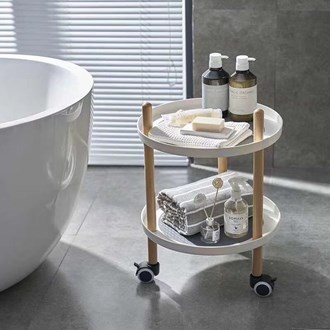 2 Tier Serving Trolley Round 39*84
