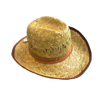 Flax Cowboy Hat Dakota style with brown edge