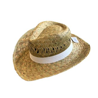 Flax Cowboy Hat White Band